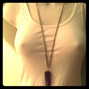 Purple stone necklace on long gold chain